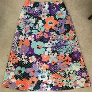 Vintage XL Skirt - floral with gold accents